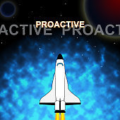 Proactive Vs Reactive Words Representing Taking Aggressive Initiative Or Reacting - 3d Illustration