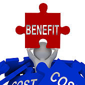 Cost Vs Benefit Jigsaw Means Comparing Price Against Value - 3d Illustration