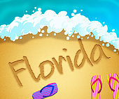 Florida beach shore representing tourism and vacations in America - 3d illustration