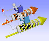 Proactive Vs Reactive Rocket Representing Taking Aggressive Initiative Or Reacting - 3d Illustration