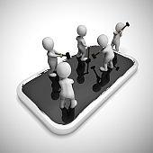 Mobile smartphone repair or overhaul - 3d illustration