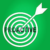 Proactive Vs Reactive Target Representing Taking Aggressive Initiative Or Reacting - 3d Illustration