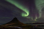 Northern Lights in Kirkjufell Mountain in Iceland