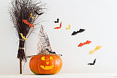 Halloween decorations on wooden table