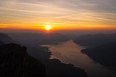 Mae Ping national park at sunrise, Pha dang luang view point Li, Lamphun in Thailand