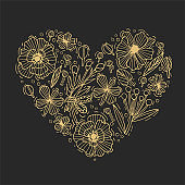 Golden hand draw flowers and leaves heart shape. Engraved style flowers. Valentines card. Vector illustration.