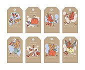 Vector linear design Harvest festival greetings elements. Fall tags set with typography and colorful icon.