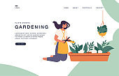 Landing page template for websites with Vector illustration girl taking care of houseplants growing in planters.