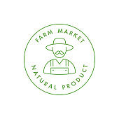 Vector logo, badge or icon for natural farm and healthy products. Symbol of farm market and antural food.