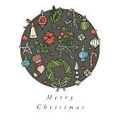 Vector hand draw design for Christmas greetings card colorful color. Typography and icon for Xmas background, banners or posters and other printables. Winter holidays design elements.