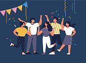 Vector illustration young people having great time. Positive emotions concept. Group of characters enjoying themselves and celebrating. Night party.