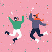 Happy winter vacation. Warmly dressed couple are jumping and holding sparkles . Merry Christmas holiday. Vector illustration in a flat style.