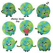 Set of cute cartoon Earth globe with emotions