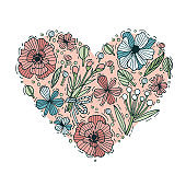 Colored hand draw flowers and leaves heart shape. Engraved style flowers. Valentines card. Vector illustration.