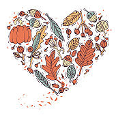 Colored hand draw plant and leaves heart shape. Engraved style greeting card. Autumn harvest festival. Vector illustration.