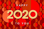 Happy new year logo 2020 banner and text design. Red, yellow and orange colors. Background trendy pattern of sequins, segments and circles. Vector greeting new year illustration with golden numbers.