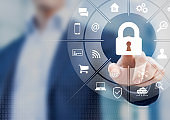 Cybersecurity on internet with person touching interface with icons of wireless network connection access on mobile, online payment, smartphone app, smart home, IoT, protect data against cyber crime