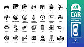 Car icon set with basic automotive symbols: automobile, auto service, wash & shop, vehicle repair, wheel & tire, oil & fuel, engine, battery, road traffic, brake, spark plug and more glyph sign.