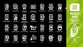 """Mobile web icon set on a black background with internet access """"on the go"""" glyph pictogram: tablet phone, wireless network, business technology, communication, digital library and more symbols."""