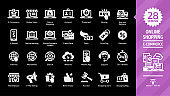 E-commerce and online shopping glyph icon set on a black background with e-money and e-marketing, digital technology internet business, mobile sale, payment service, web shop symbols.