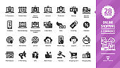 E-commerce and online shopping glyph icon set with e-money, digital technology internet business, mobile sale, payment service, web shop silhouette symbols.
