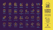 Climate change or global warming editable stroke outline yellow icon set on a dark violet background with globe air CO2 pollution, human impact, deforestation, greenhouse effect eco line symbols.