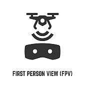 First person view FPV glyph icon with video piloting wireless UAV drone and virtual reality glasses sign.