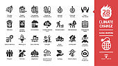 Climate change or global warming glyph icon set with world heat temperature, globe greenhouse effect, air pollution, earth co2 smoke problem, hot sun fire energy and environment save symbols.