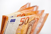 Bunch of fifty Euro banknotes