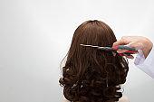 Artificial Fake Hair Wig on Rattan Head Mannequin