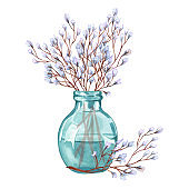 Several twigs with blooming twigs in a glass vase. Watercolor illustration of twig  in vase isolated on white background.