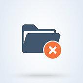 No folder and Forbidden file Simple vector modern icon design illustration.
