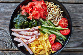 close-up of Hiyashi chuka, summer cold ramen