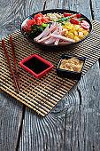 Hiyashi chuka, cold ramen with ham and egg