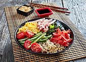 chilled Hiyashi chuka, cold ramen salad, top view