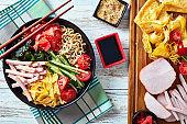 Hiyashi chuka, cold ramen summer salad, top view