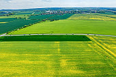 High angle view of a rural road and Agriculture fields in Germany