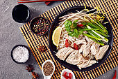 soup Pho Ga with chicken, rice noodles, herbs