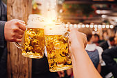 Beer toast at Oktoberfest in Munich, Germany