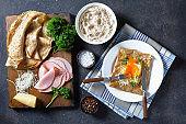 Breton crepe, Savory Buckwheat Galettes Bretonnes with fried egg, cheese, ham