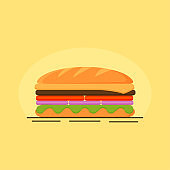 sandwich icon for restaurant or cafe, Vector illustration. flat design with shadow