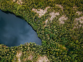 Aerial view of blue lakes and green forests on a sunny summer day in  Pentala island museum, Finland