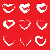 Icon set of red heart .Painted Hearts from Grunge Brush Strokes. Collection of love symbols for Valentine card, banner. texture design elements. Isolated on red background. Vector illustration