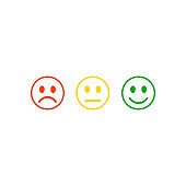 Smile rating satisfaction feedback in form of emotions excellent normal bad vector illustration