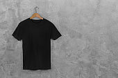 Black Blank Cotton Tshirt Hanging Center Gray Concrete Empty Wall Background