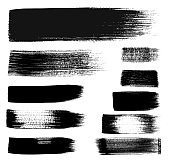 Set of black strokes isolated on white background