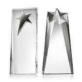 Glass trophy with star shape on white background