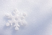 Winter background. Christmas and new year card. Snowflake on white snow.