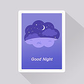 Good Night card with nightly background in a dream bubble. Minimalist style