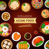 Asian food. Traditional national dishes on a wooden background. Vector illustration.